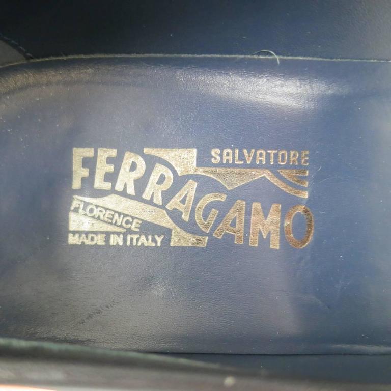 Men's SALVATORE FERRAGAMO Size 11 Black Leather Double Gancini Horsebit Loafers 8