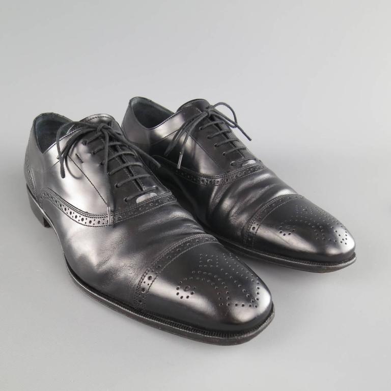 's SALVATORE FERRAGAMO Size 11 Black Leather Wingtip Cap Toe Lace Up 4