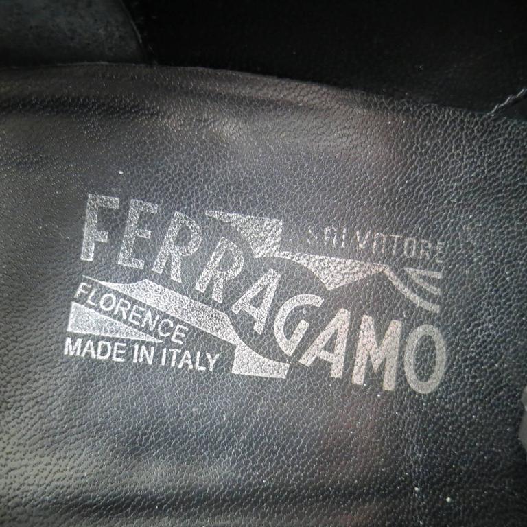 's SALVATORE FERRAGAMO Size 11 Black Leather Wingtip Cap Toe Lace Up 8