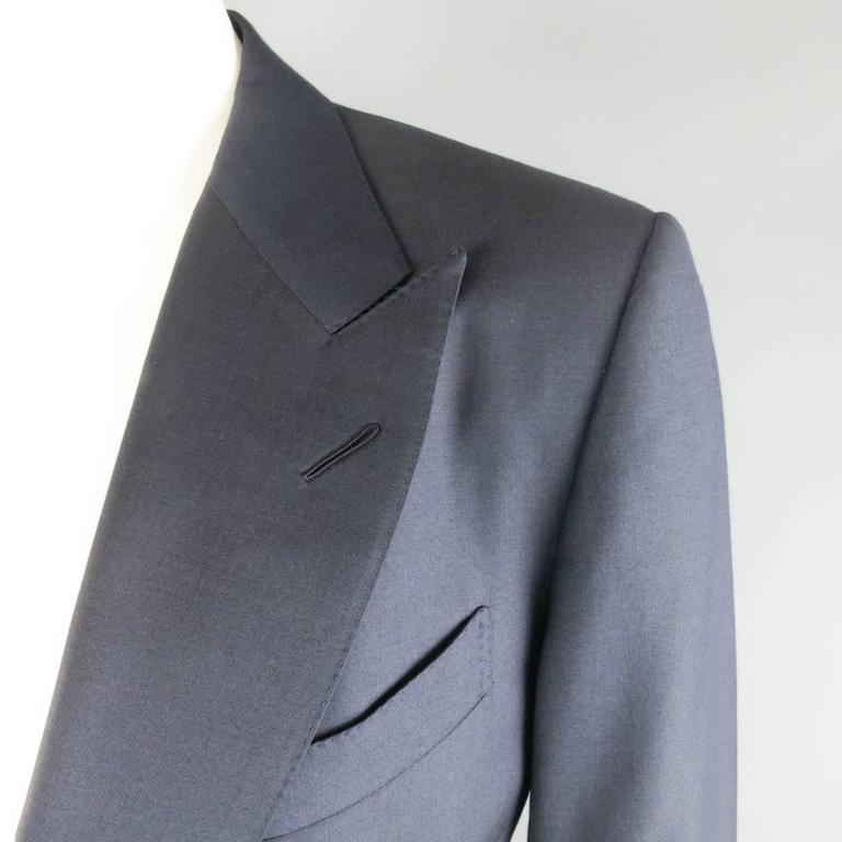 Black Men's TOM FORD 44 Long Navy Solid Wool Peak Lapel 2 Button 38 34 Suit For Sale