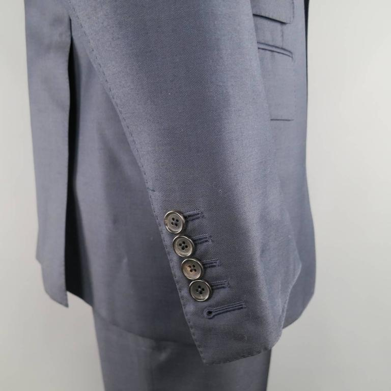 Men's TOM FORD 44 Long Navy Solid Wool Peak Lapel 2 Button 38 34 Suit For Sale 1