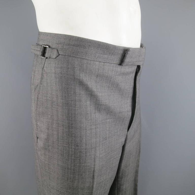 Tom Ford Men's Grey Herringbone Wool 2 Button Suit   2