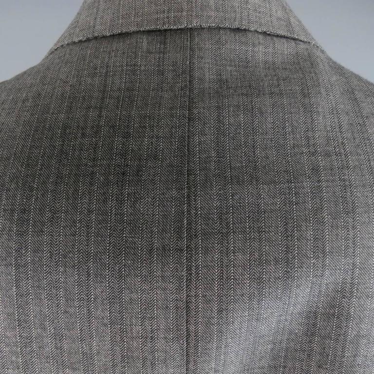 Tom Ford Men's Grey Herringbone Wool 2 Button Suit   1