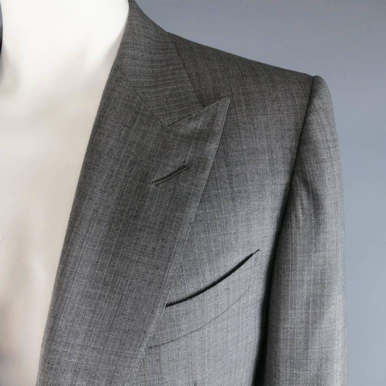 Gray Tom Ford Men's Grey Herringbone Wool 2 Button Suit