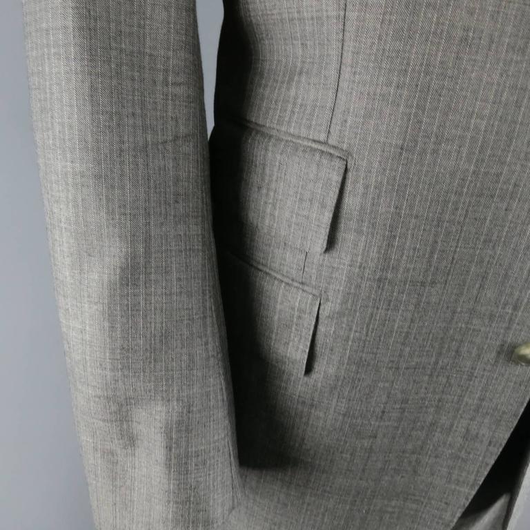 Tom Ford Men's Grey Herringbone Wool 2 Button Suit   4