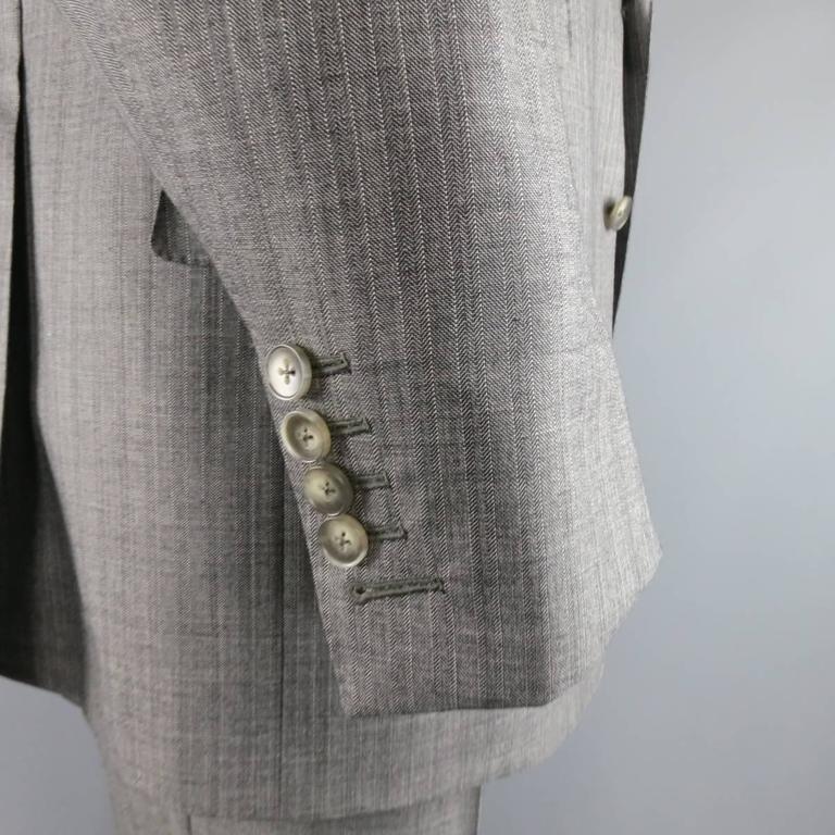 Tom Ford Men's Grey Herringbone Wool 2 Button Suit   5