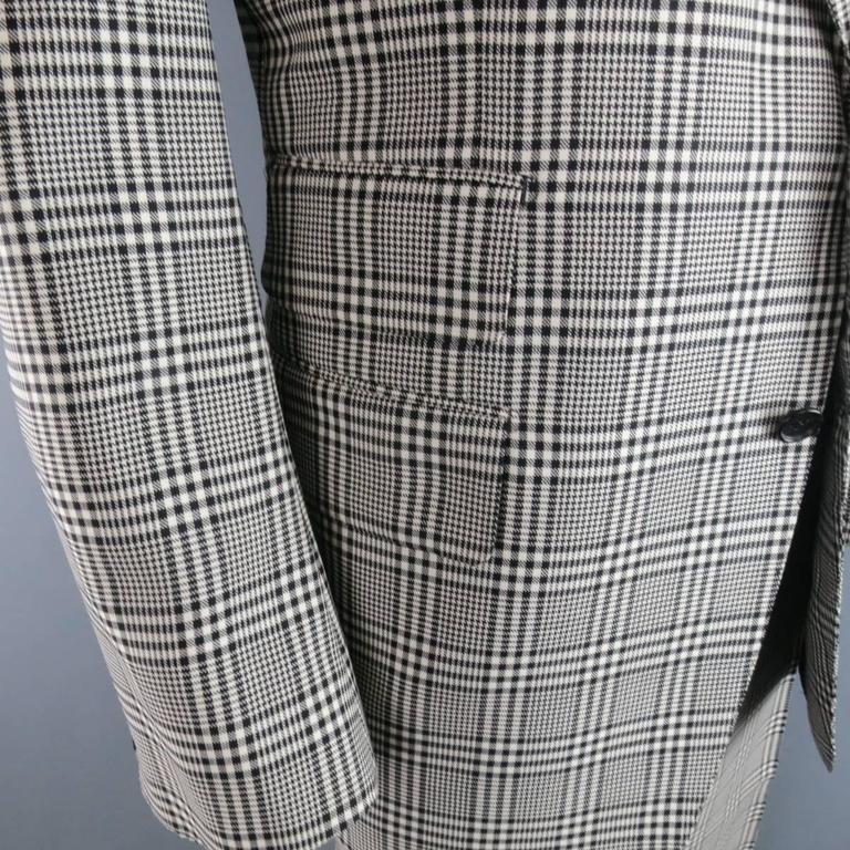 TOM FORD 48 R Black & White Glenplaid Wool / Mohair 2 Piece Peak Lapel Suit 4