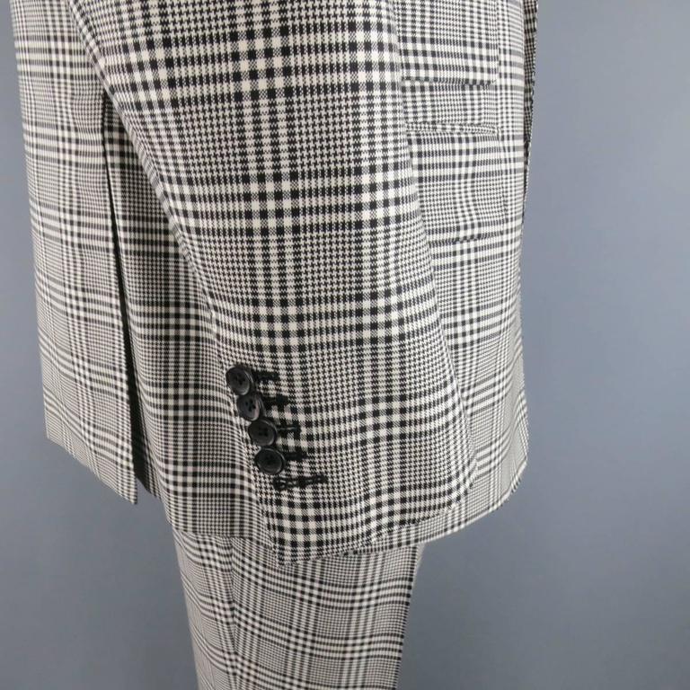 TOM FORD 48 R Black & White Glenplaid Wool / Mohair 2 Piece Peak Lapel Suit 5