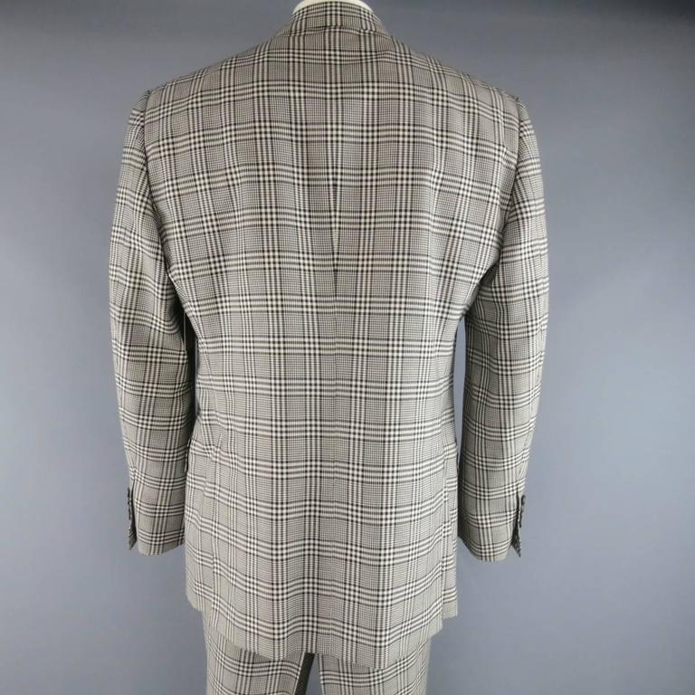 TOM FORD 48 R Black & White Glenplaid Wool / Mohair 2 Piece Peak Lapel Suit 6