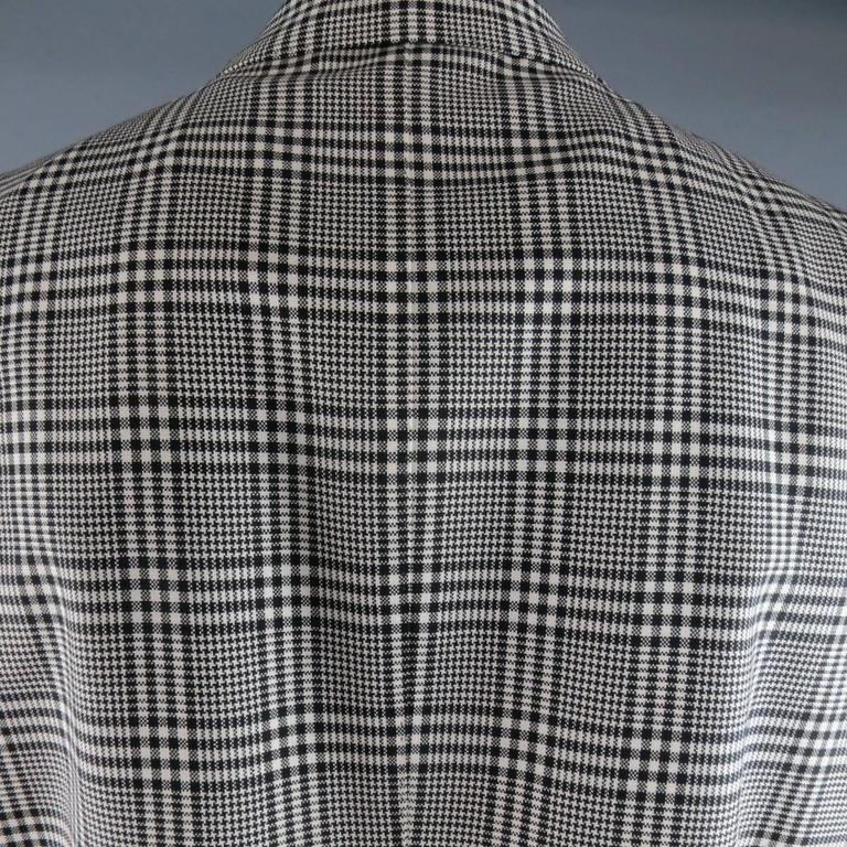 TOM FORD 48 R Black & White Glenplaid Wool / Mohair 2 Piece Peak Lapel Suit 7