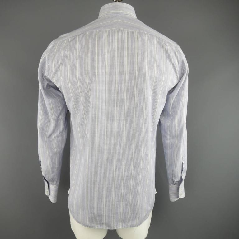 Men's TOM FORD Size M Blue & White Abstract Window Pane Cotton Long Sleeve Shirt 5