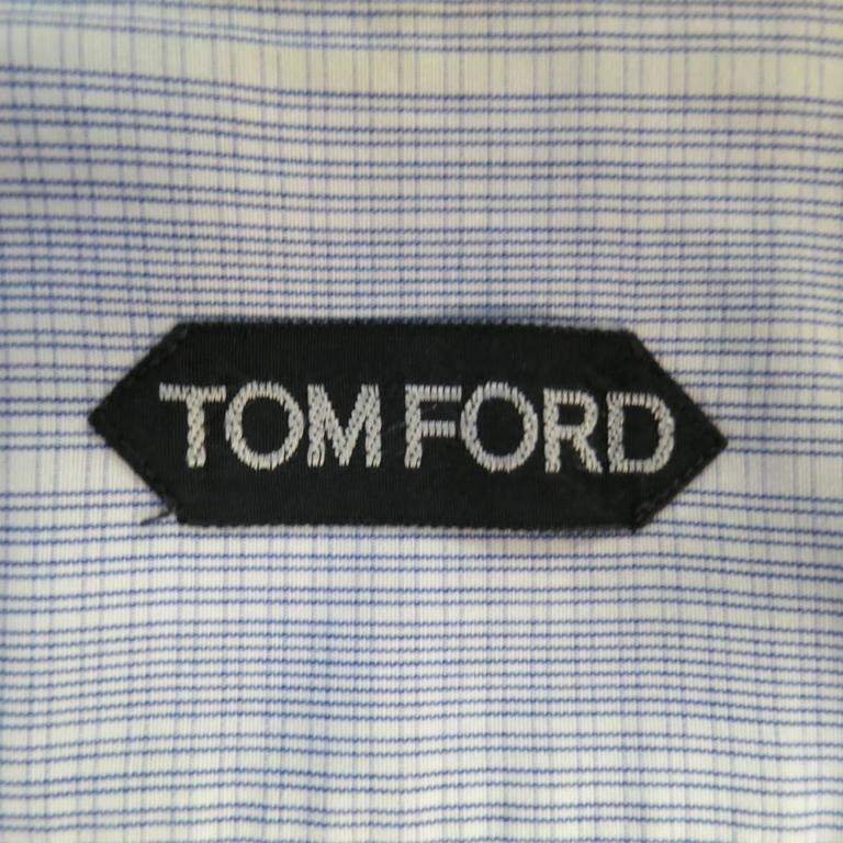 Men's TOM FORD Size M Blue & White Abstract Window Pane Cotton Long Sleeve Shirt 6