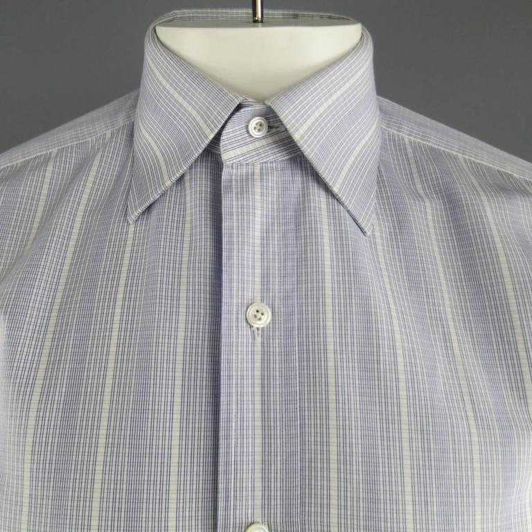 Men's TOM FORD Size M Blue & White Abstract Window Pane Cotton Long Sleeve Shirt 2