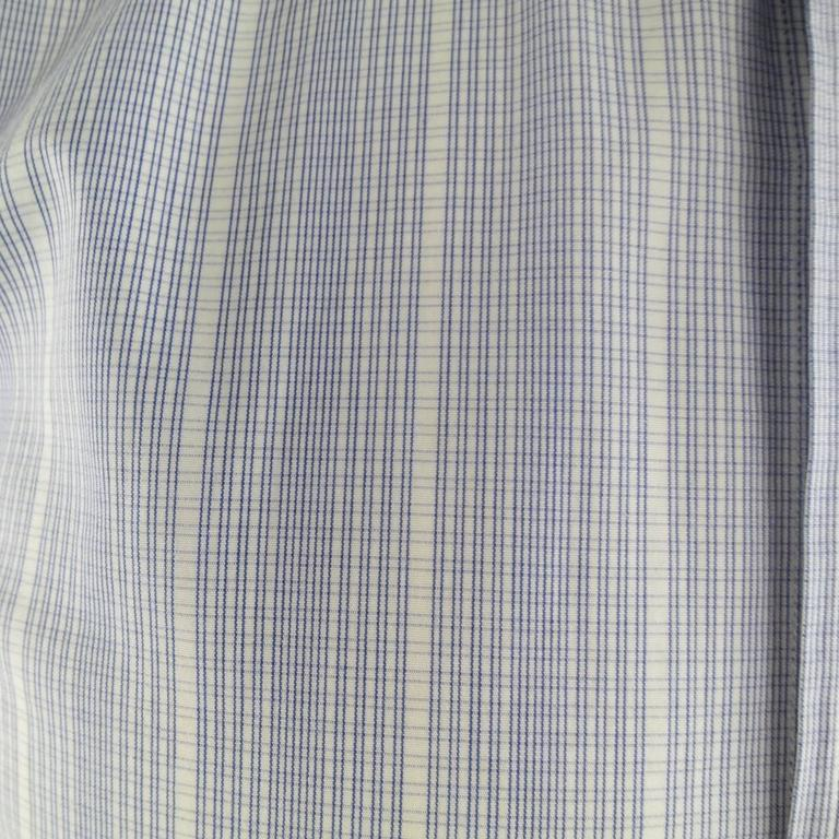 Gray Men's TOM FORD Size M Blue & White Abstract Window Pane Cotton Long Sleeve Shirt For Sale
