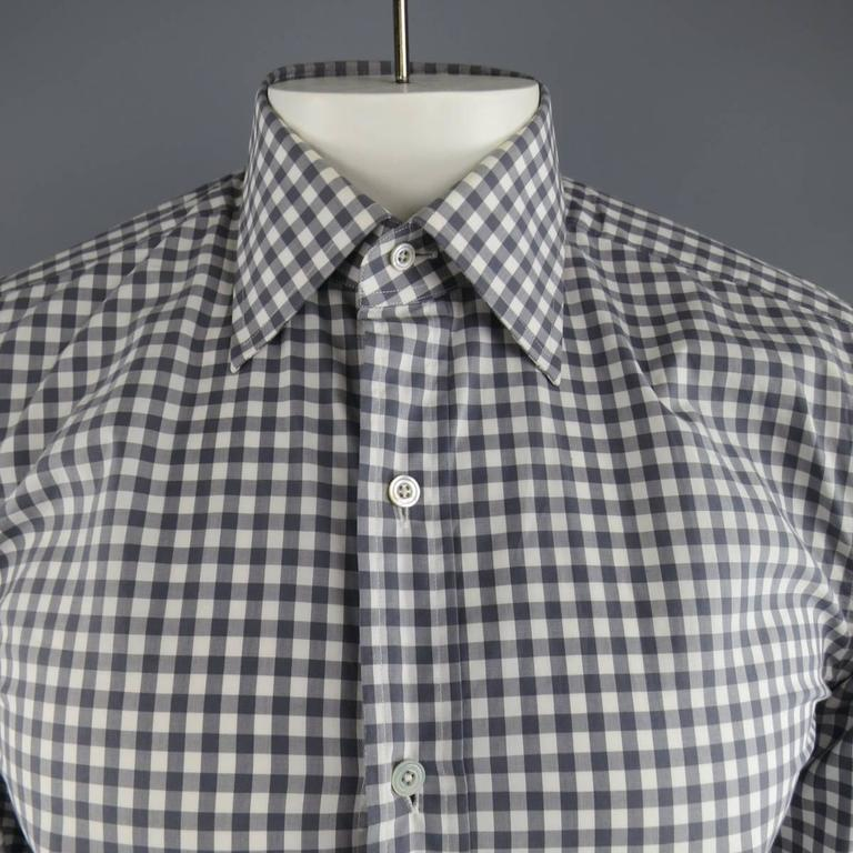 Men 39 S Tom Ford Size M Grey And White Gingham Plaid Cotton