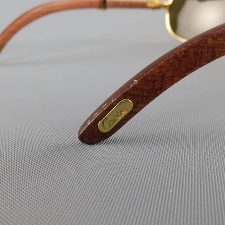 Cartier Sunglasses - Gold Tone Metal and Wood Multi Lens, 1990s  In Good Condition For Sale In San Francisco, CA