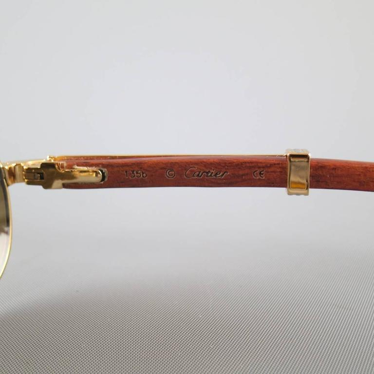Cartier Sunglasses - Gold Tone Metal and Wood Multi Lens, 1990s  For Sale 1