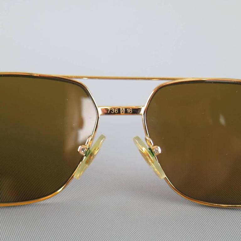 Cartier Sunglasses - Gold Tone Metal and Wood Multi Lens, 1990s  For Sale 2