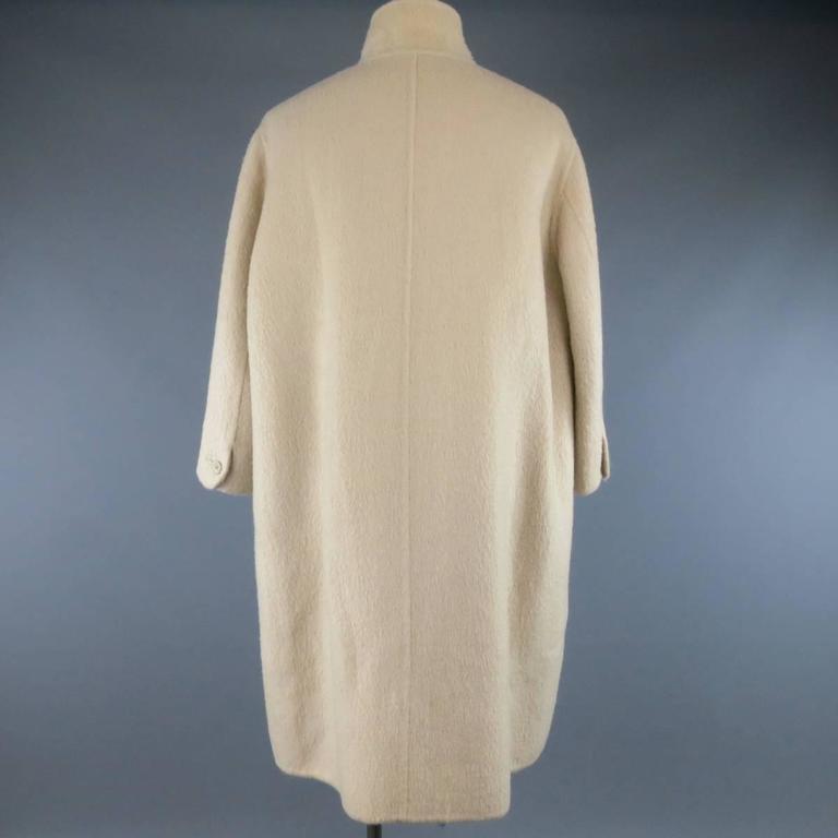Women's or Men's Vintage ISSEY MIYAKE 40 Cream Fuzzy Wool Blend High Collar Coat For Sale