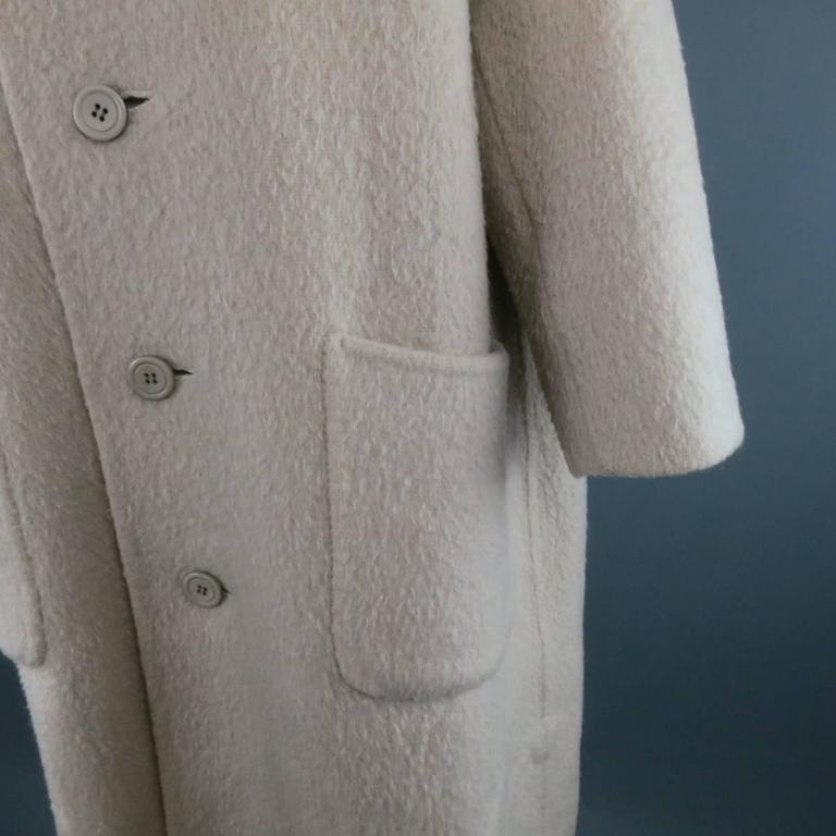 Beige Vintage ISSEY MIYAKE 40 Cream Fuzzy Wool Blend High Collar Coat For Sale