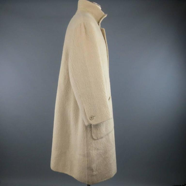 Vintage ISSEY MIYAKE 40 Cream Fuzzy Wool Blend High Collar Coat In Good Condition For Sale In San Francisco, CA