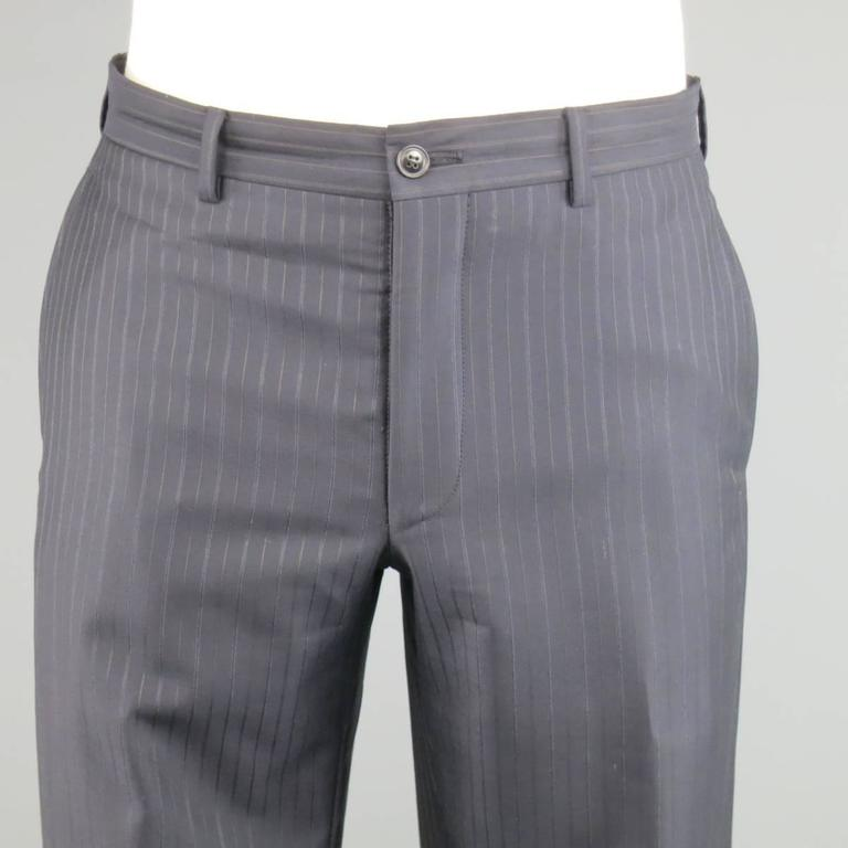 46c180a8dae Men s GIORGIO ARMANI 40 Regular Navy   Brown PinStripe Wool 32 32 Suit For  Sale 3