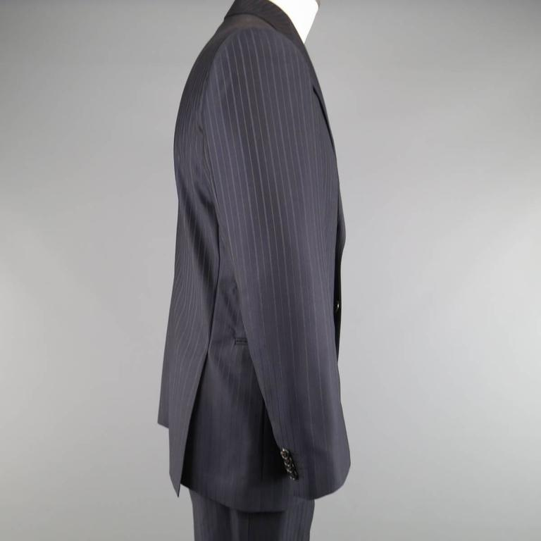 5baf4fb6f3d Men s GIORGIO ARMANI 40 Regular Navy   Brown PinStripe Wool 32 32 Suit In  Excellent Condition