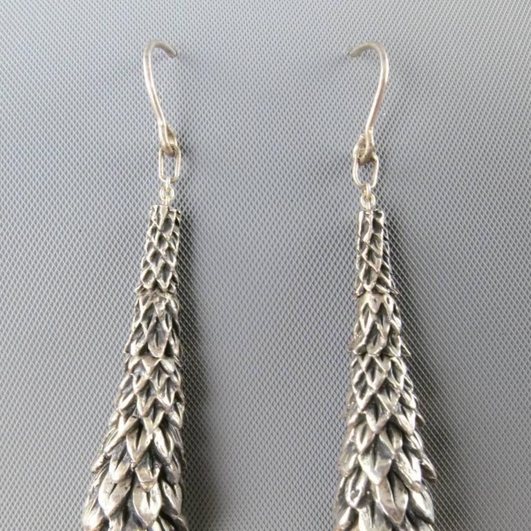 UGO CACCIATORI Sterling Silver Smoky Quartz Dangle Earrings In Excellent Condition For Sale In San Francisco, CA