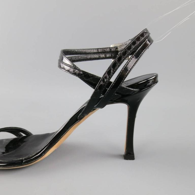 MANOLO BLAHNIK Size 6.5 Black Patent Snake Skin Leather Ankle Strap Sandals 2