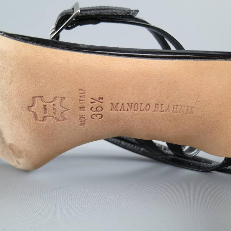MANOLO BLAHNIK Size 6.5 Black Patent Snake Skin Leather Ankle Strap Sandals 5