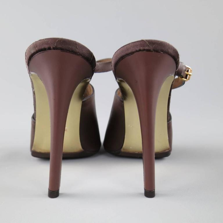 Women's STELLA McCARTNEY Size 10.5 Brown Faux Leather Peep Toe Ankle Strap Sandals For Sale