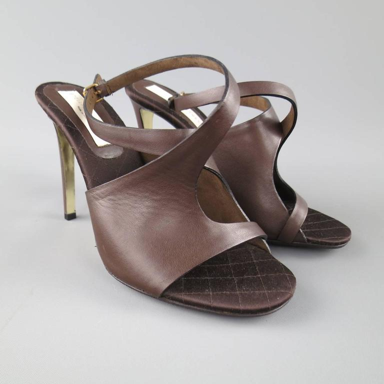 Black STELLA McCARTNEY Size 10.5 Brown Faux Leather Peep Toe Ankle Strap Sandals For Sale