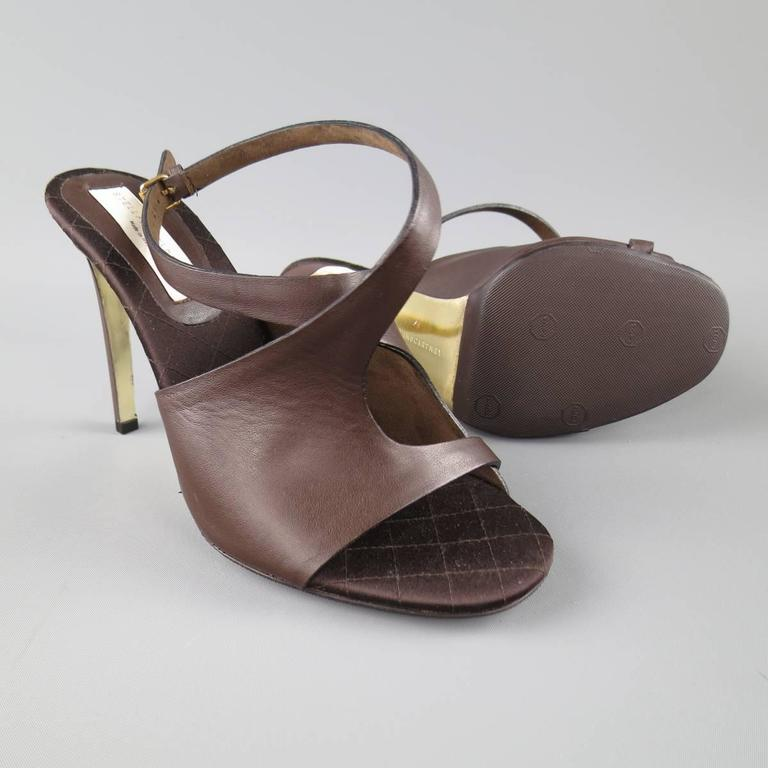STELLA McCARTNEY Size 10.5 Brown Faux Leather Peep Toe Ankle Strap Sandals In Excellent Condition For Sale In San Francisco, CA