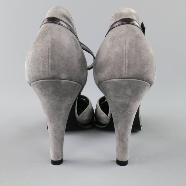SONIA RYKIEL Size 10 Grey & Purple Suede T-strap Pumps 5