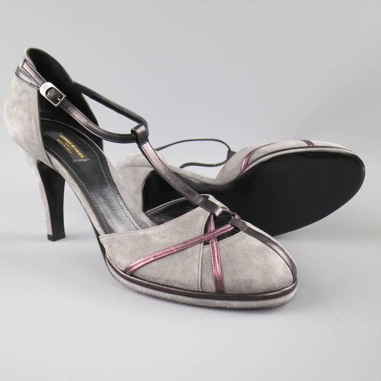Gray SONIA RYKIEL Size 10 Grey & Purple Suede T-strap Pumps For Sale