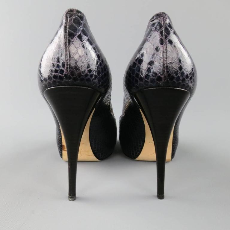 GIUSEPPE ZANOTTI Size 11 Violet Purple Peep Toe Snake Skin Platform Pumps For Sale 1