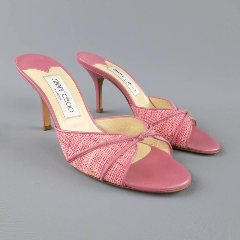 Jimmy Choo Size 7 5 Pink Woven Raffia And Leather Open Toe