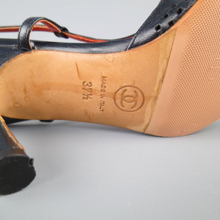 CHANEL Size 7.5 Navy Perforated Leather Slingback Pumps For Sale 3