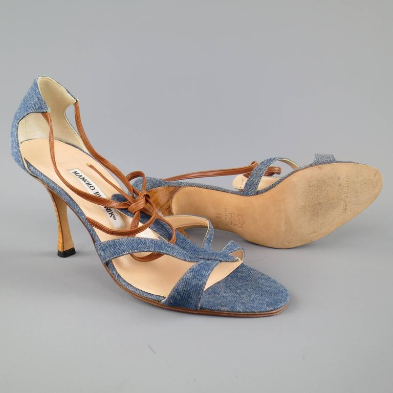 MANOLO BLAHNIK Size 8 Blue Denim and Tan Leather Strappy ...