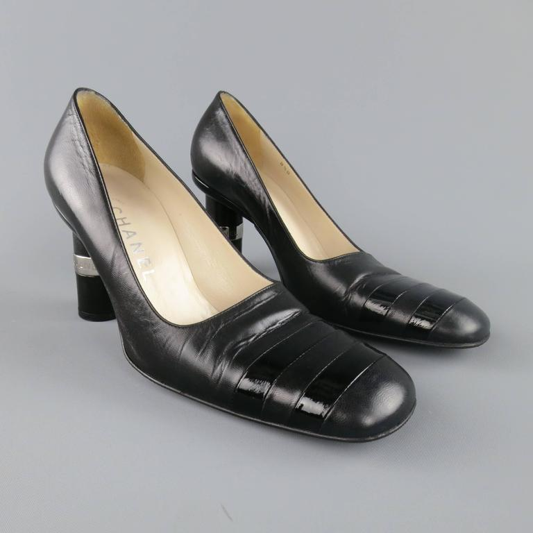 Vintage CHANEL Size 8.5 Black Leather Silver Logo Round Heel Pumps 4