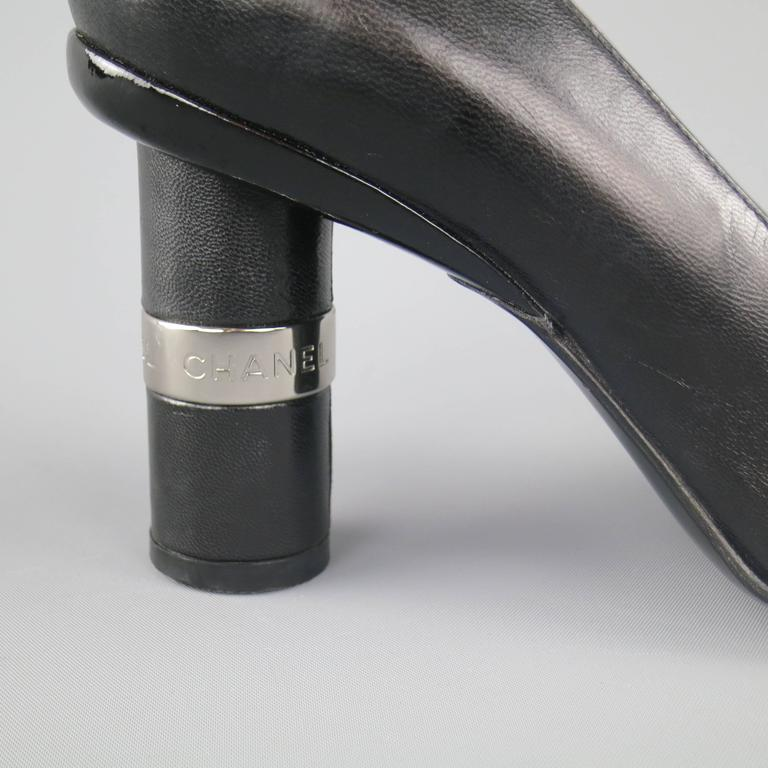 Vintage CHANEL Size 8.5 Black Leather Silver Logo Round Heel Pumps 2