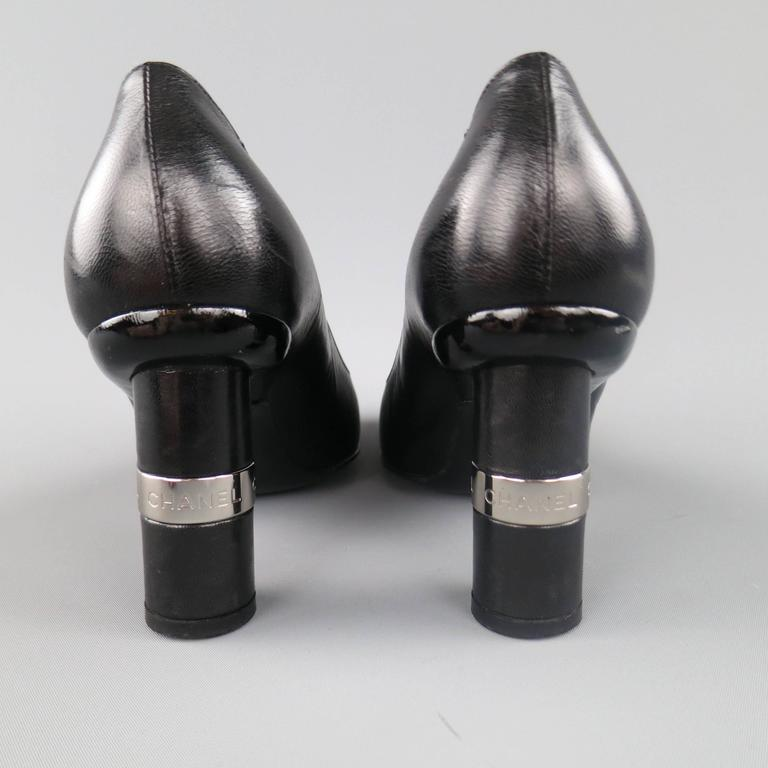 Vintage CHANEL Size 8.5 Black Leather Silver Logo Round Heel Pumps 5