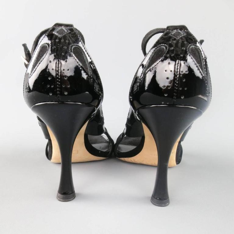 CHRISTIAN DIOR Size 11 Black Patent Leather Mary Jane Sandals Heels For Sale 2