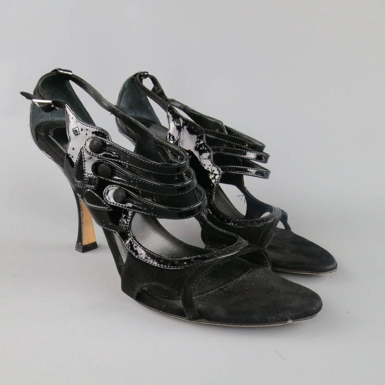 CHRISTIAN DIOR Size 11 Black Patent Leather Mary Jane Sandals Heels For Sale 1