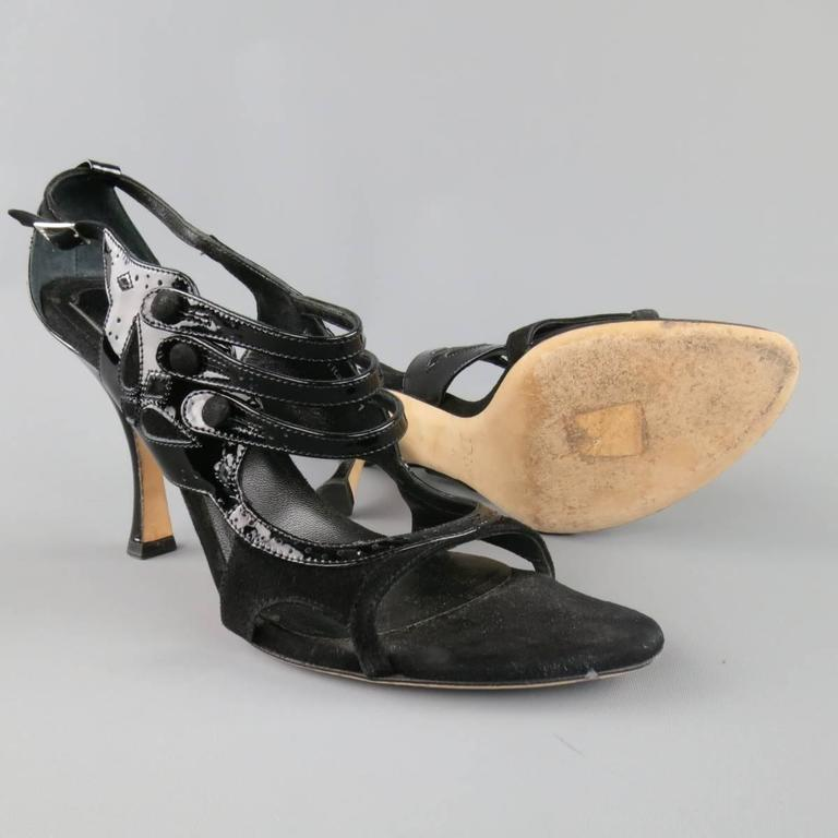 Women's CHRISTIAN DIOR Size 11 Black Patent Leather Mary Jane Sandals Heels For Sale