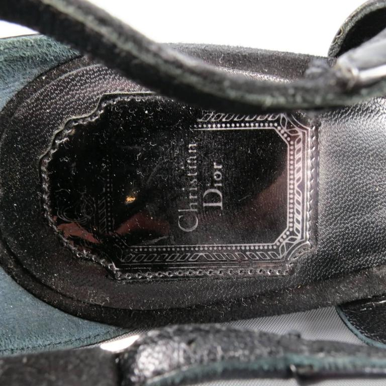 CHRISTIAN DIOR Size 11 Black Patent Leather Mary Jane Sandals Heels For Sale 3
