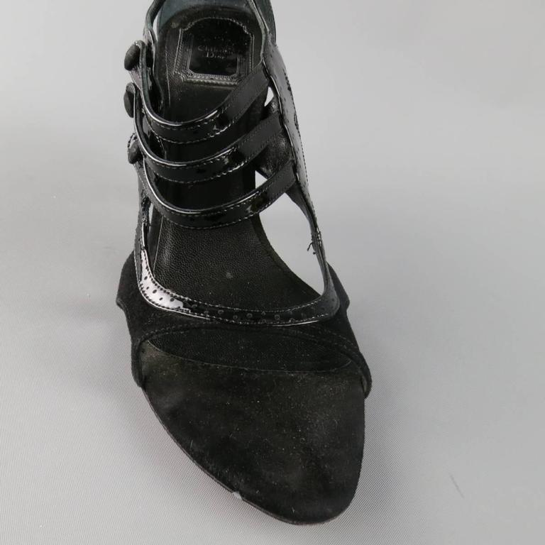 CHRISTIAN DIOR Size 11 Black Patent Leather Mary Jane Sandals Heels In Excellent Condition For Sale In San Francisco, CA