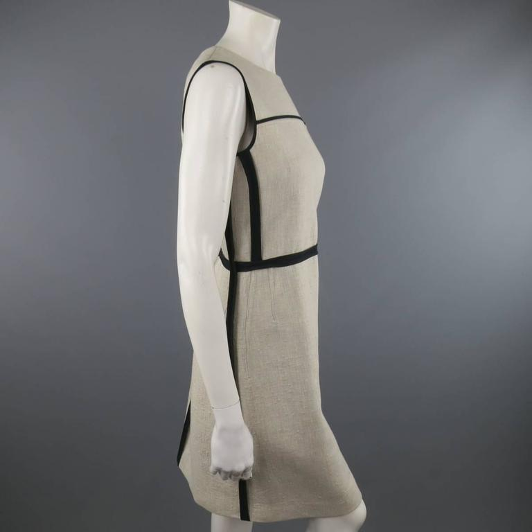 MARNI Size 2 Beige Wool / Linen Sleeveless Reverse Seam Dress In Excellent Condition For Sale In San Francisco, CA