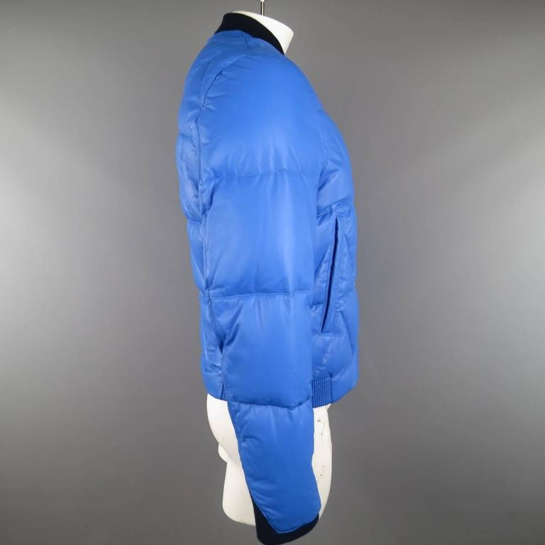 Men's KENZO L Blue Chevron Quilted Leather Bomber Jacket 5