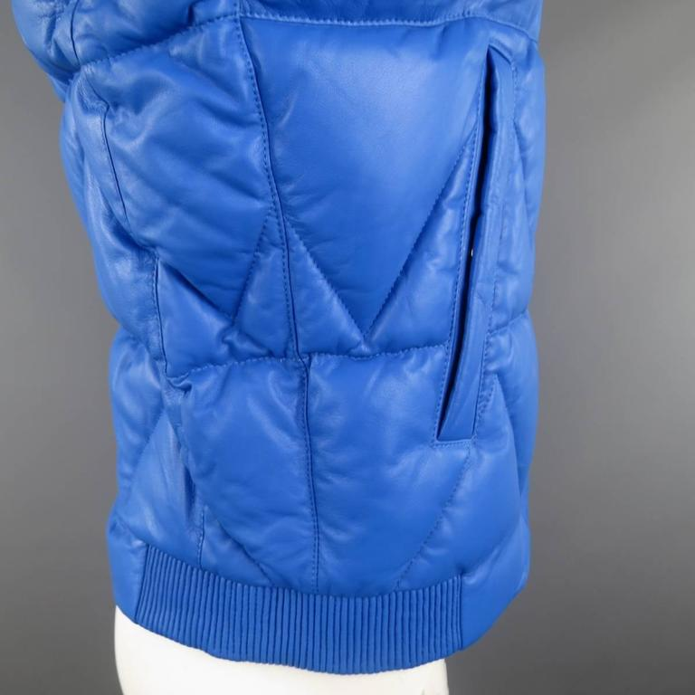 Men's KENZO L Blue Chevron Quilted Leather Bomber Jacket 6